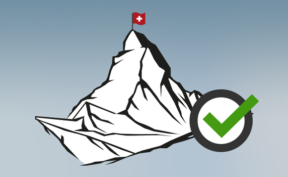Illustration vom Matterhorn mit Checkmark