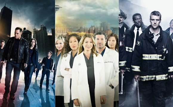 Collage aus Keyvisuals zu «Greys Anatomy», «Chicago Fire» und «Chicago PD»