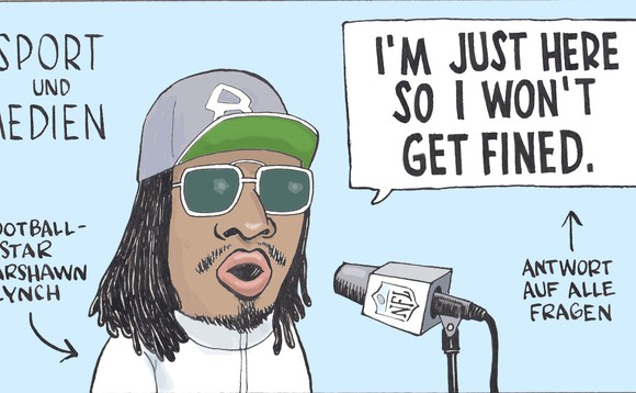 Illustration mit Football-Star Marshawn Lynch vor einem Mikrofon