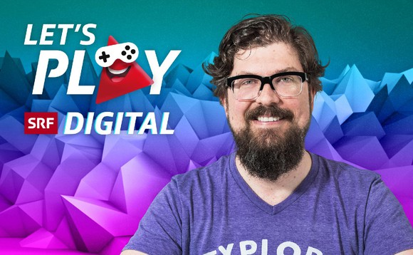 Keyvisual «Let's Play» von SRF Digital mit Host Guido Berger