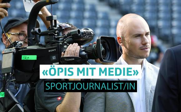 Jeff Baltermia SRF Sportjournalist interviewt Person mit Mikrophon in der Hand